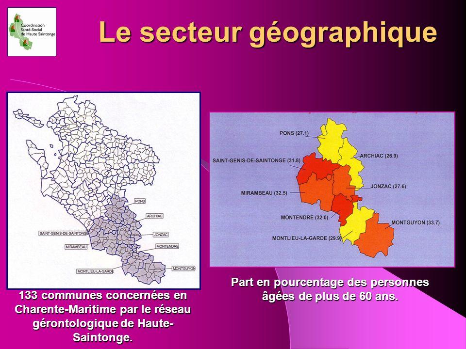Le secteur géographique 133 communes concernées en Charente-Maritime par le réseau gérontologique de Haute- Saintonge. Part en pourcentage des personn