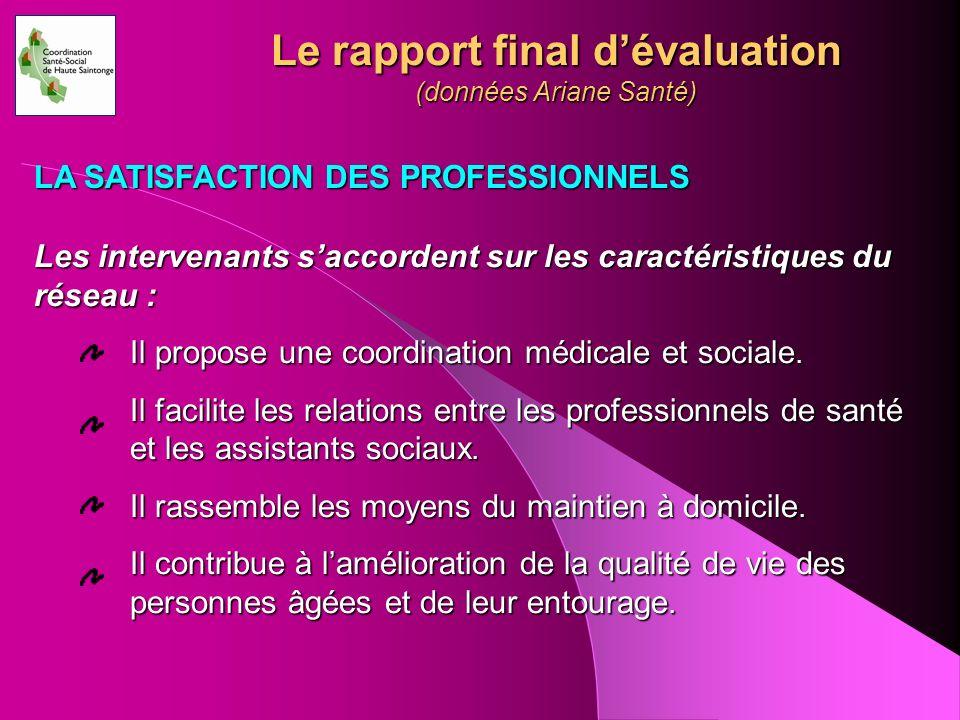 Le rapport final dévaluation (données Ariane Santé) Les intervenants saccordent sur les caractéristiques du réseau : Il propose une coordination médic