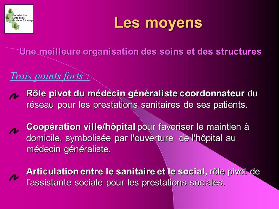 Les moyens Une meilleure organisation des soins et des structures Trois points forts : Rôle pivot du médecin généraliste coordonnateur du réseau pour