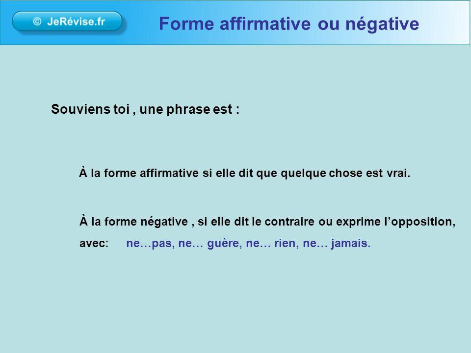Pour tentraîner avec les exercices de la leçon : www.jerevise.fr Forme affirmative ou négative