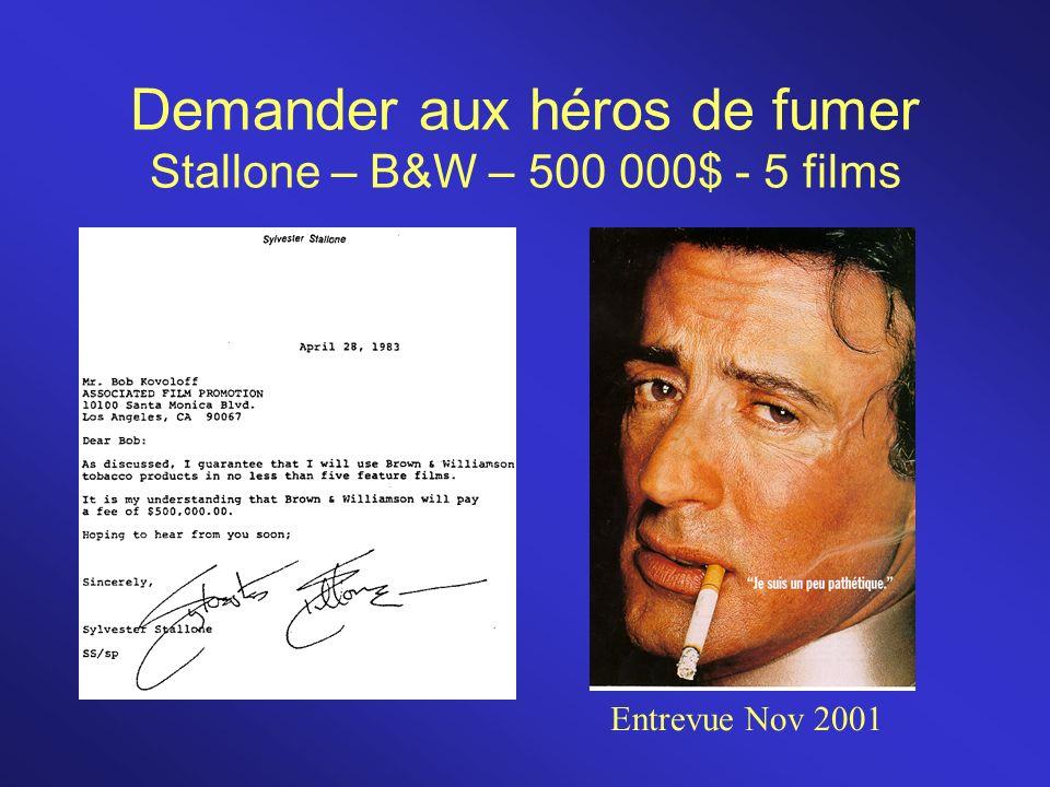 Demander aux héros de fumer Stallone – B&W – 500 000$ - 5 films Entrevue Nov 2001
