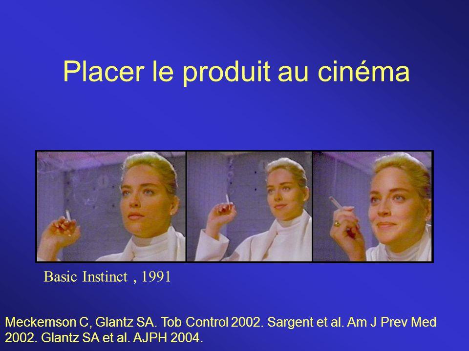 Placer le produit au cinéma Basic Instinct, 1991 Meckemson C, Glantz SA. Tob Control 2002. Sargent et al. Am J Prev Med 2002. Glantz SA et al. AJPH 20