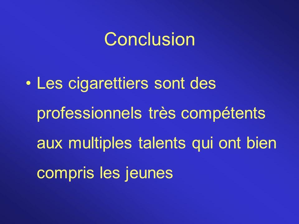 Conclusion Les cigarettiers sont des professionnels très compétents aux multiples talents qui ont bien compris les jeunes