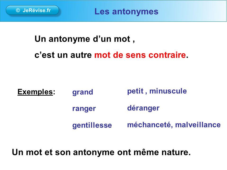 Un antonyme dun mot, cest un autre mot de sens contraire. Exemples: grand ranger gentillesse Les antonymes petit, minuscule déranger méchanceté, malve