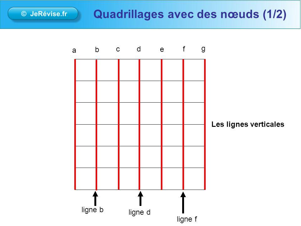 Les lignes verticales a b cd e f g ligne b ligne d ligne f Quadrillages avec des nœuds (1/2)