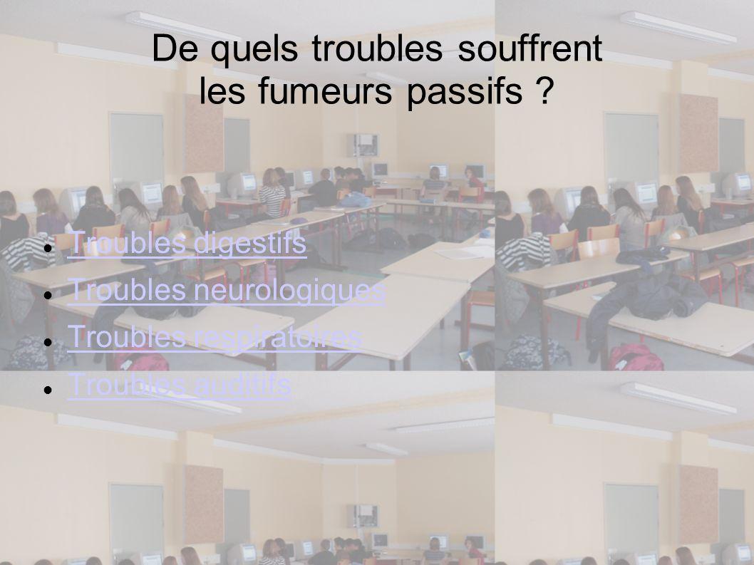 De quels troubles souffrent les fumeurs passifs ? Troubles digestifs Troubles neurologiques Troubles respiratoires Troubles auditifs