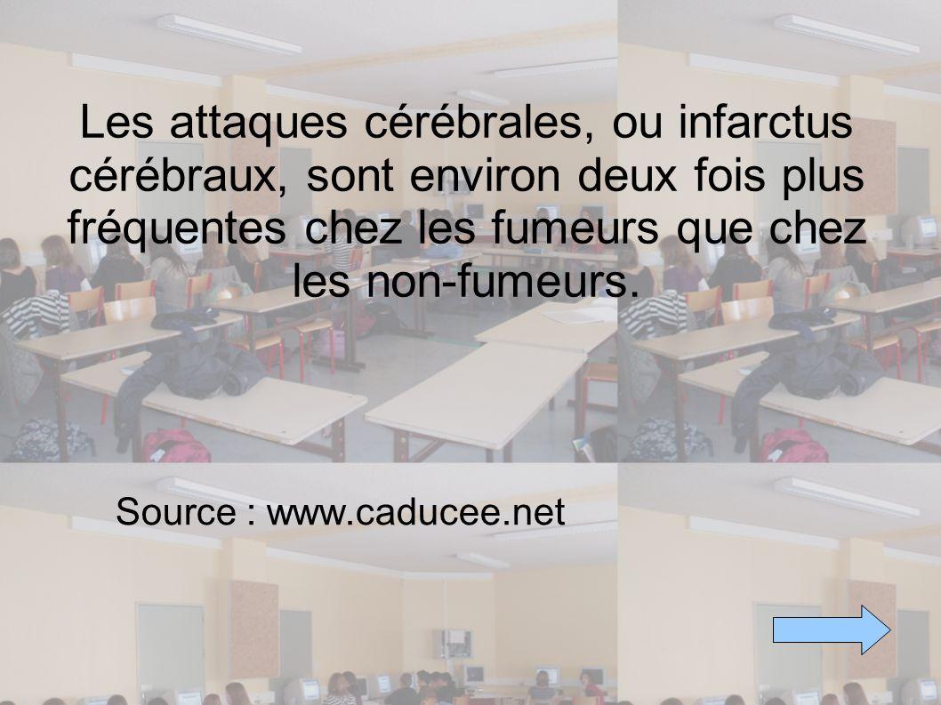 Les attaques cérébrales, ou infarctus cérébraux, sont environ deux fois plus fréquentes chez les fumeurs que chez les non-fumeurs. Source : www.caduce
