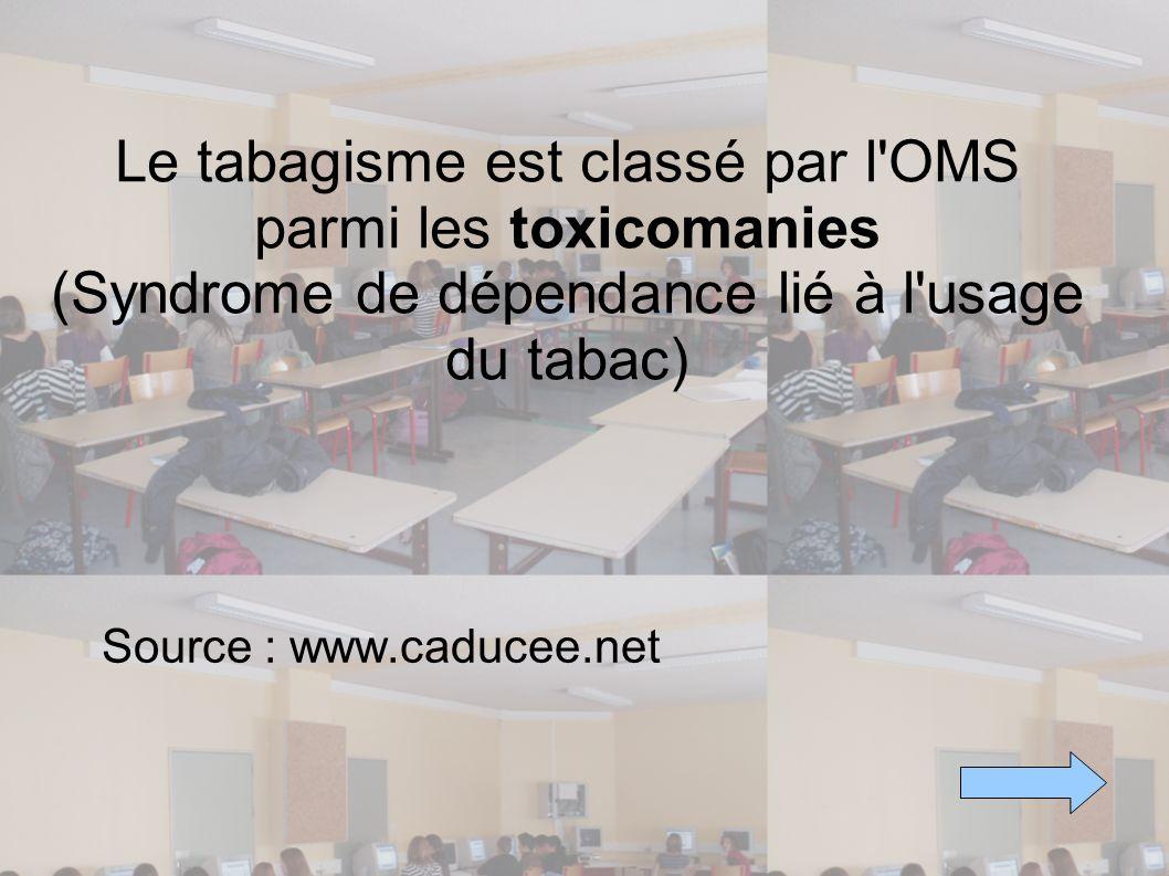 Le tabagisme est classé par l'OMS parmi les toxicomanies (Syndrome de dépendance lié à l'usage du tabac) Source : www.caducee.net