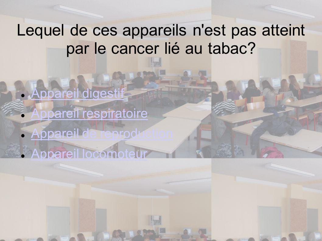 Lequel de ces appareils n'est pas atteint par le cancer lié au tabac? Appareil digestif Appareil respiratoire Appareil de reproduction Appareil locomo