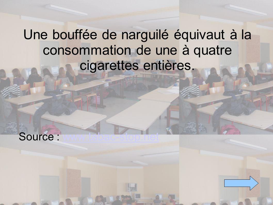 Une bouffée de narguilé équivaut à la consommation de une à quatre cigarettes entières. Source : www.tabac-stop.netwww.tabac-stop.net