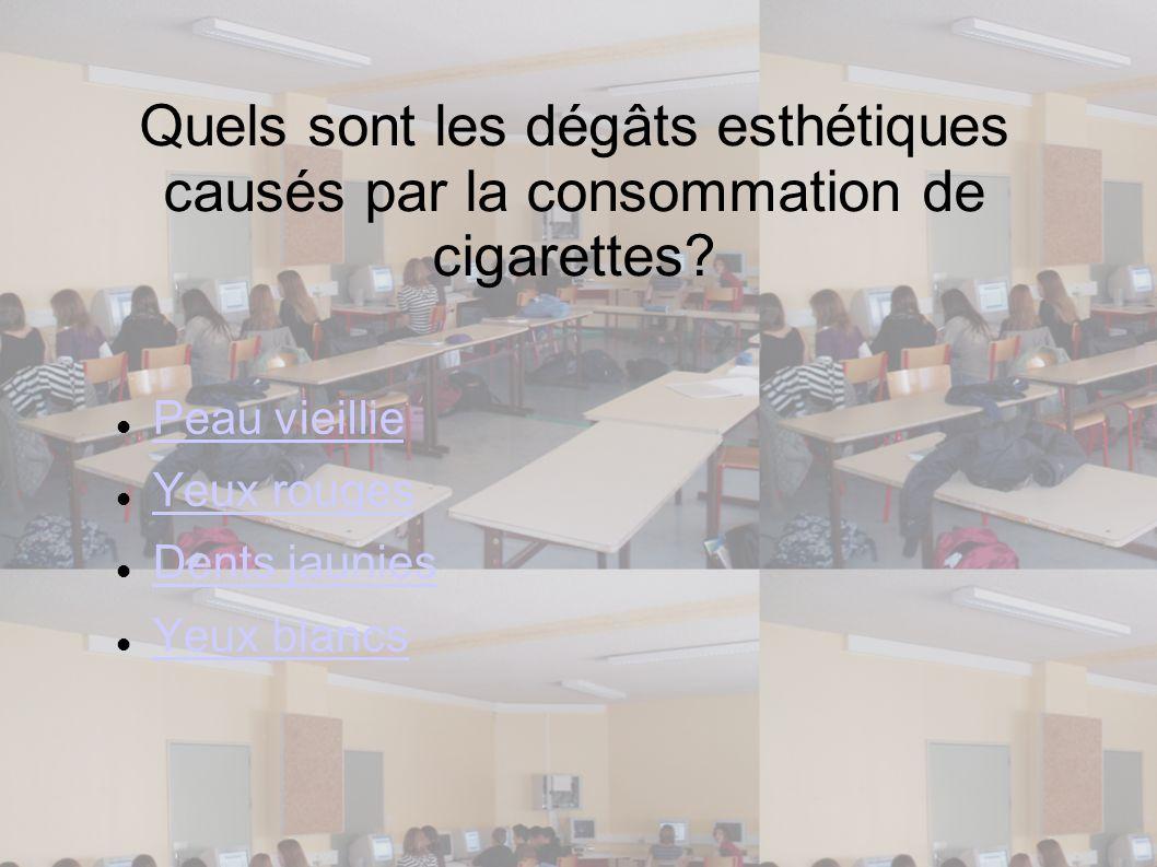 Quels sont les dégâts esthétiques causés par la consommation de cigarettes? Peau vieillie Yeux rouges Dents jaunies Yeux blancs