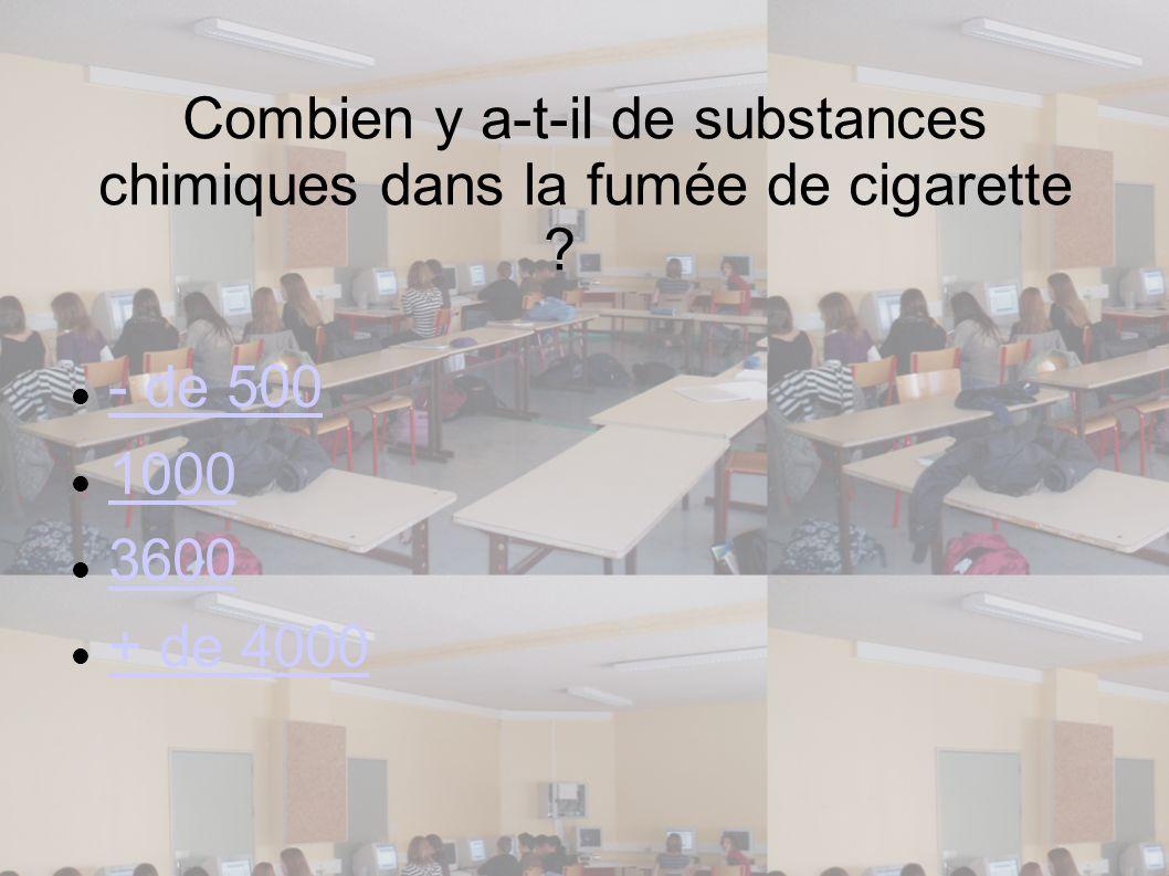 Combien y a-t-il de substances chimiques dans la fumée de cigarette ? - de 500 1000 3600 + de 4000