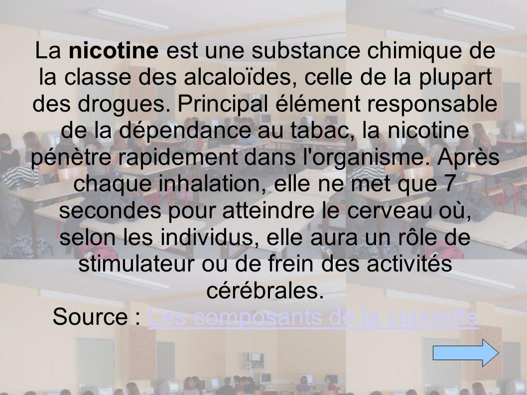 La nicotine est une substance chimique de la classe des alcaloïdes, celle de la plupart des drogues. Principal élément responsable de la dépendance au