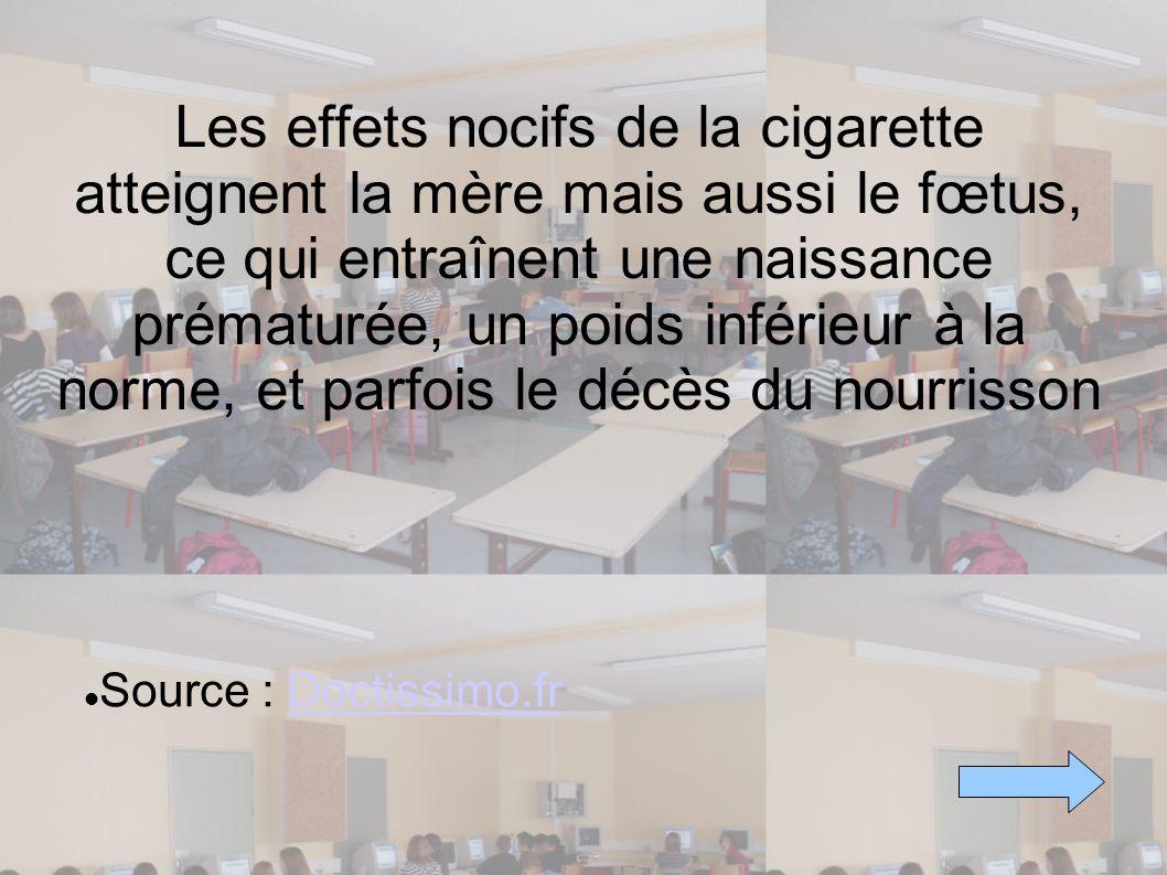 Les effets nocifs de la cigarette atteignent la mère mais aussi le fœtus, ce qui entraînent une naissance prématurée, un poids inférieur à la norme, e