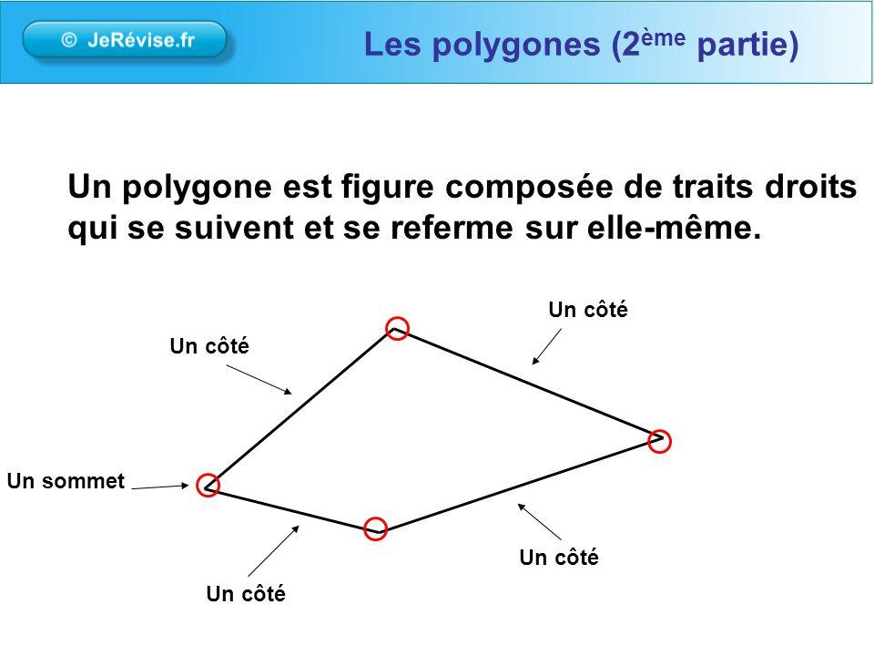 On classe les polygones avec le nombre de côtés: Les polygones (2 ème partie) Un triangle : 3 côtés Un quadrilatère : 4 côtés Un hexagone : 6 côtés Un pentagone : 5 côtés