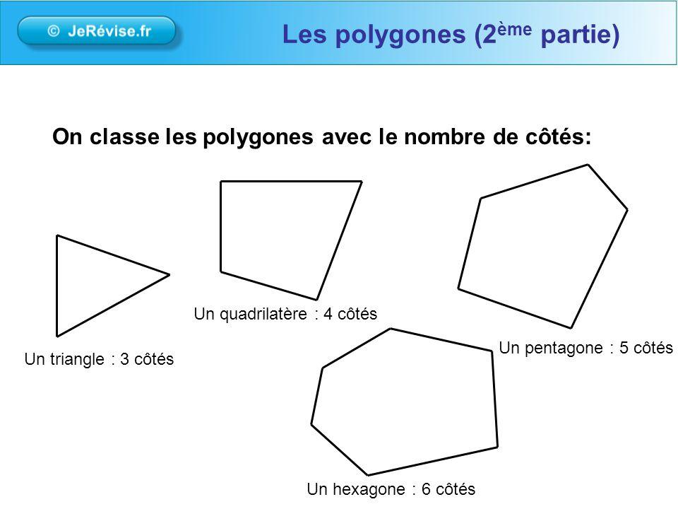 On classe les polygones avec le nombre de côtés: Les polygones (2 ème partie) Un triangle : 3 côtés Un quadrilatère : 4 côtés Un hexagone : 6 côtés Un