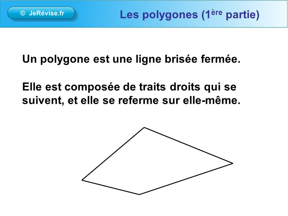 Elle est composée de traits droits qui se suivent, et elle se referme sur elle-même. Un polygone est une ligne brisée fermée. Les polygones (1 ère par