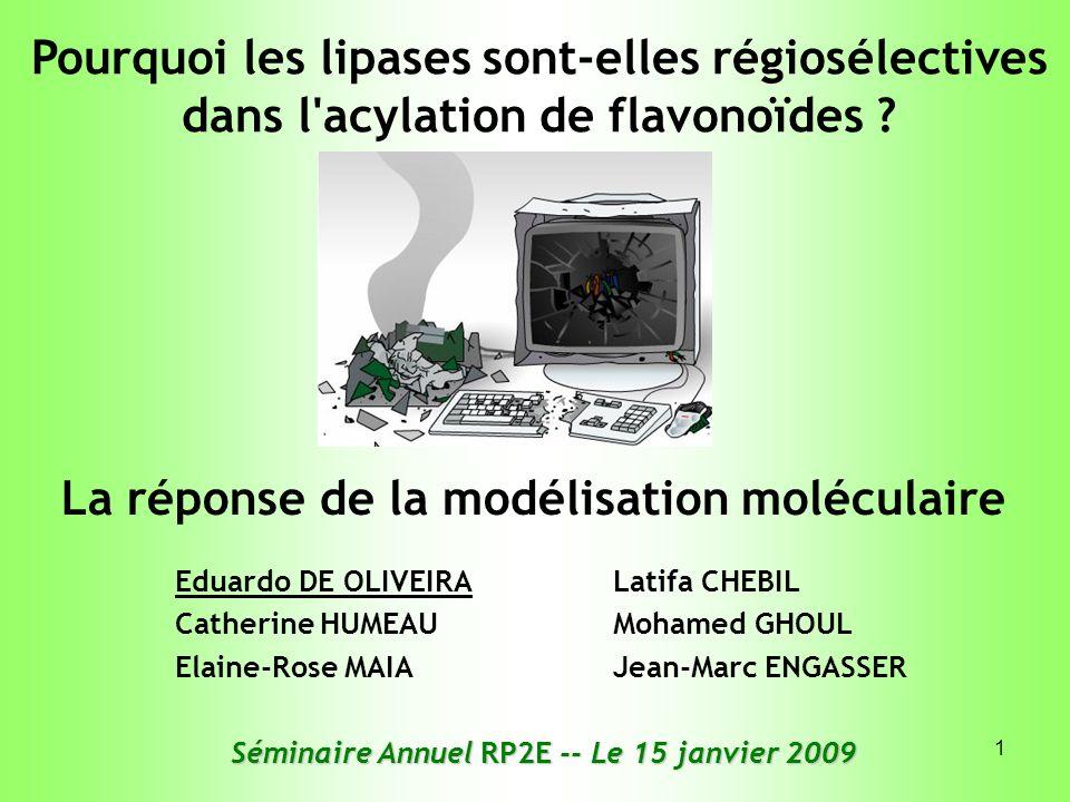 12 Mécanisme réactionnel simplifié (adapté de Uppenberg et al., 1994) Enzyme libre CIBLE DE DOCKING SUBSTRAT DOCKÉ Flavonoïde (accepteur dacyle) F H3CH3C F – OH Flavonoïde acylé Enzyme régénérée H 2 C = CH OH CH 3 Acyl- enzyme H3CH3C CH=CH 2 Vinyl-acétate (donneur dacyle)