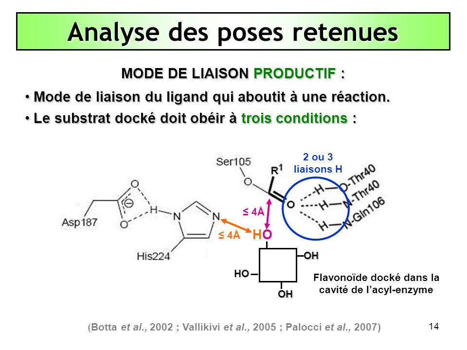 14 4Å Analyse des poses retenues HOHOOH OH HO MODE DE LIAISON PRODUCTIF : Mode de liaison du ligand qui aboutit à une réaction. Mode de liaison du lig