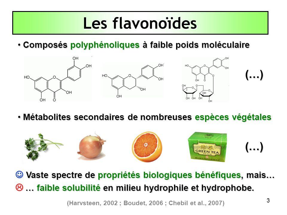 3 Composés polyphénoliques à faible poids moléculaire Composés polyphénoliques à faible poids moléculaire Les flavonoïdes Vaste spectre de propriétés