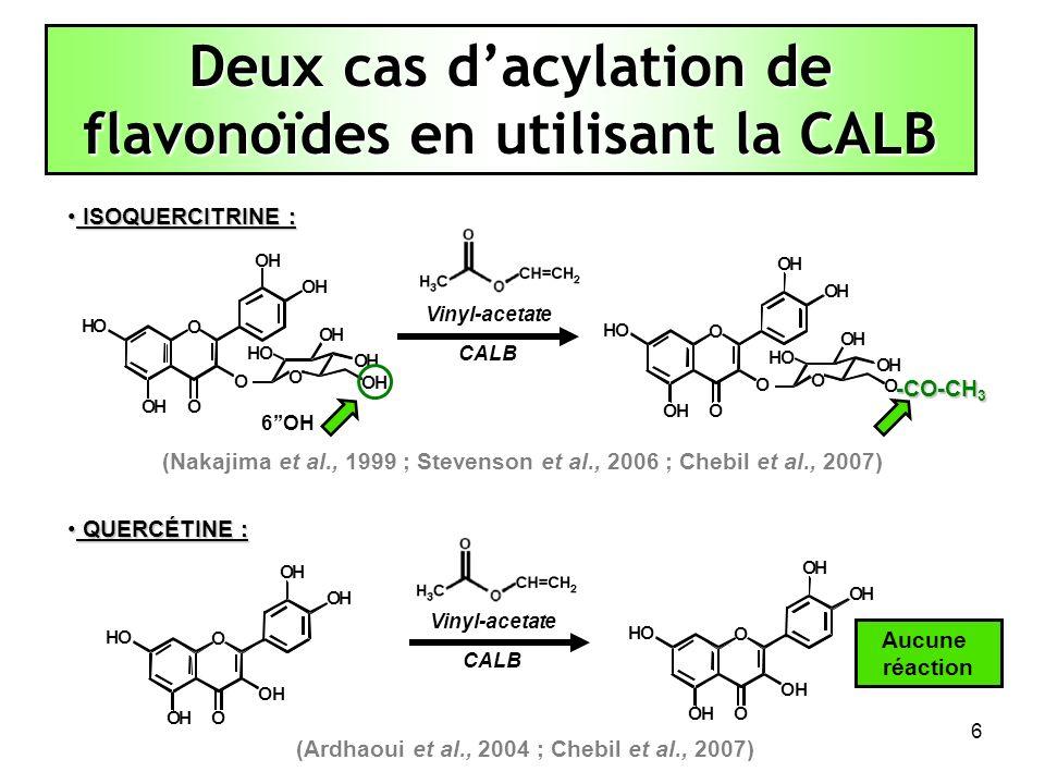 7 Utiliser des outils de SIMULATION MOLECULAIRE pour expliquer, dans le cas de l acétylation enzymatique de lisoquercitrine et de la quercétine, catalysée par la lipase B de Candida antarctica (CALB) : (A) LA SPECIFICITÉ : Pourquoi la CALB est-elle capable de catalyser lacétylation de l isoquercitrine mais pas celle de la quercétine .