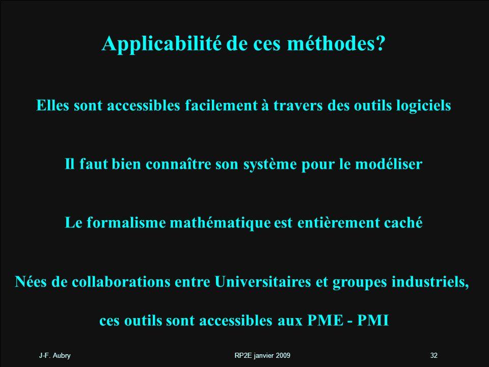 J-F. Aubry RP2E janvier 200932 Applicabilité de ces méthodes? Elles sont accessibles facilement à travers des outils logiciels Il faut bien connaître
