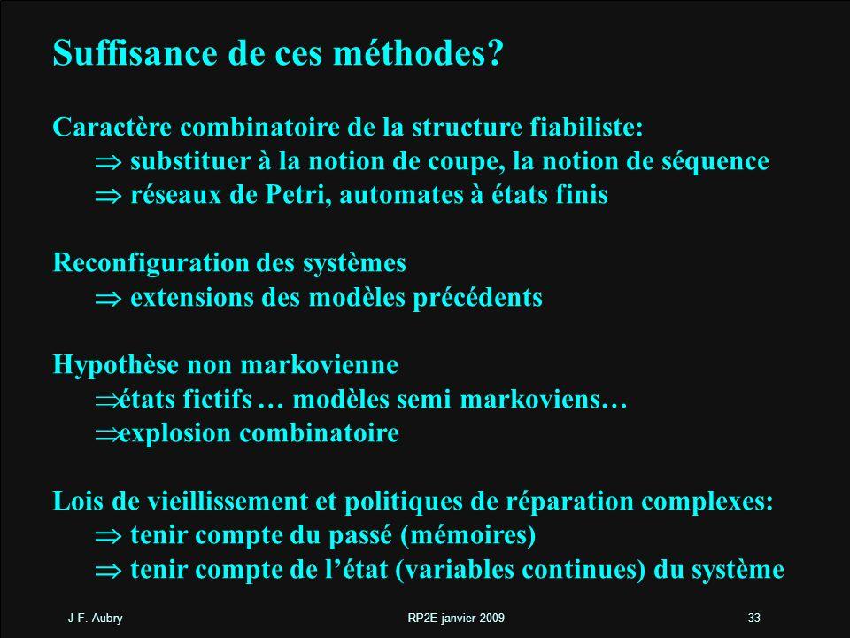 J-F. Aubry RP2E janvier 200933 Suffisance de ces méthodes? Caractère combinatoire de la structure fiabiliste: substituer à la notion de coupe, la noti