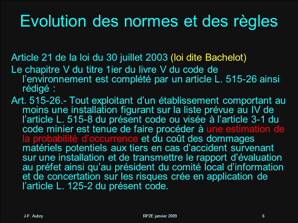 J-F. Aubry RP2E janvier 20096 Evolution des normes et des règles Article 21 de la loi du 30 juillet 2003 (loi dite Bachelot) Le chapitre V du titre 1i