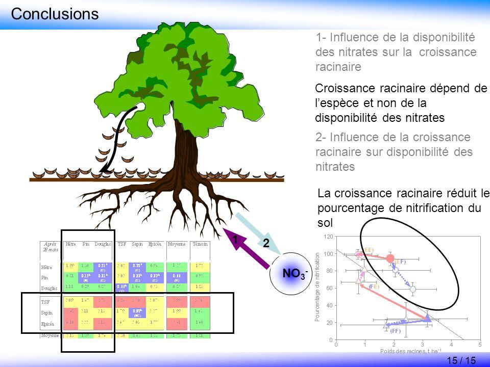 Conclusions 1- Influence de la disponibilité des nitrates sur la croissance racinaire 2- Influence de la croissance racinaire sur disponibilité des ni