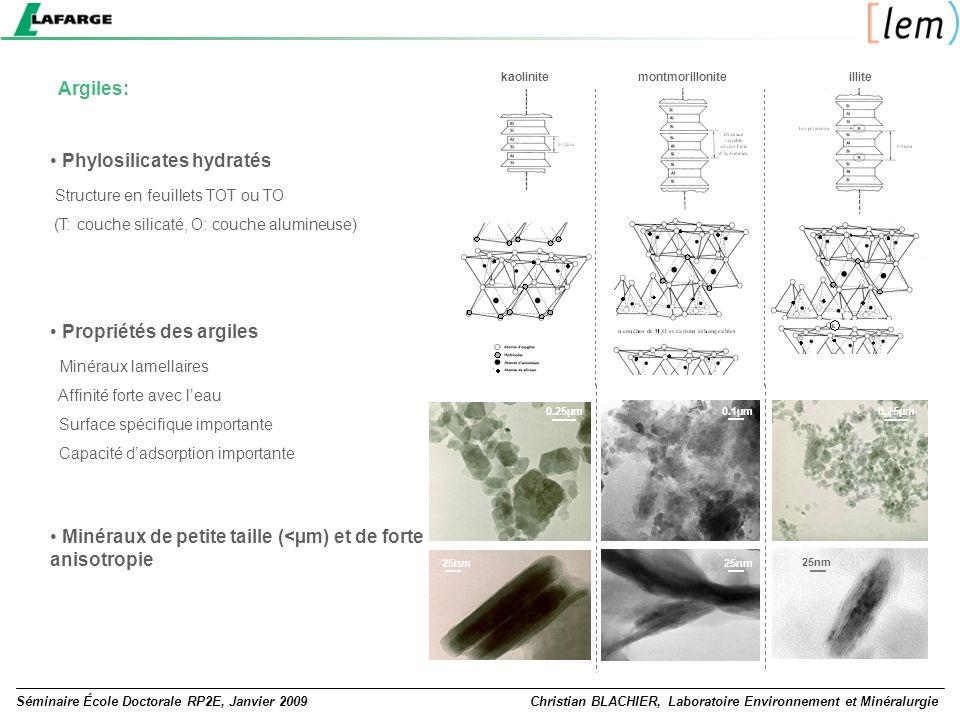 Séminaire École Doctorale RP2E, Janvier 2009Christian BLACHIER, Laboratoire Environnement et Minéralurgie Argiles: Phylosilicates hydratés Structure e