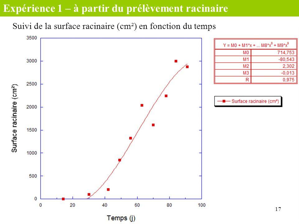 Suivi de la surface racinaire (cm²) en fonction du temps 17 Expérience 1 – à partir du prélèvement racinaire