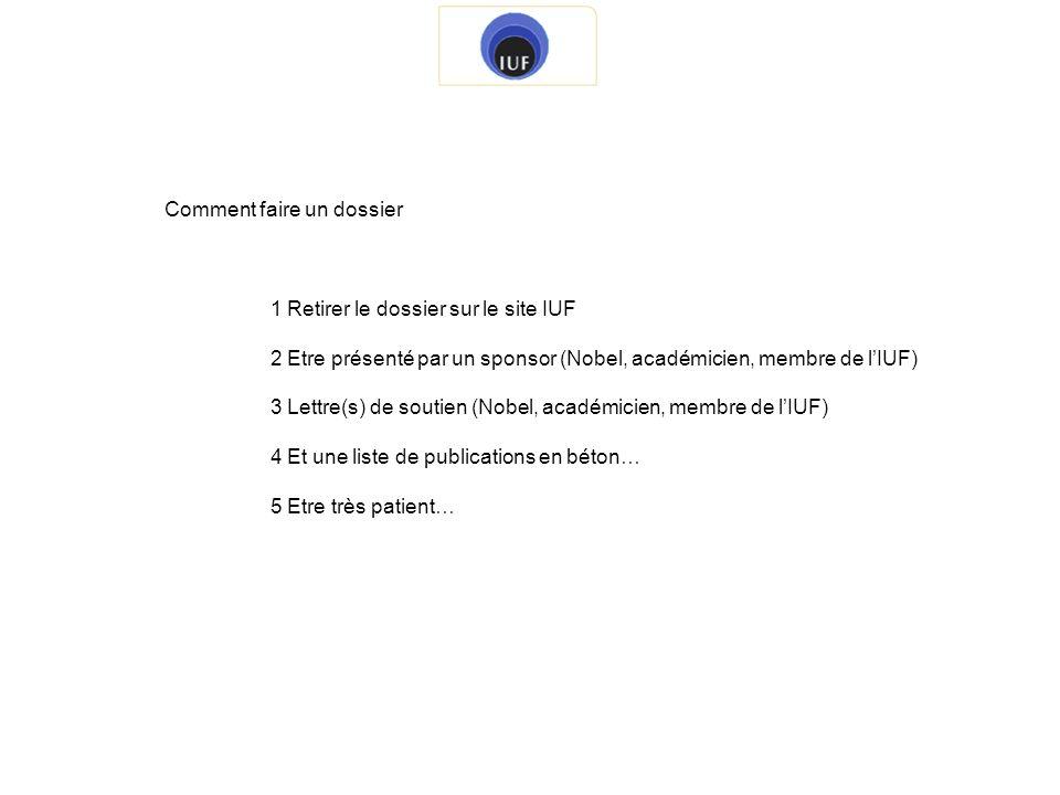 Comment faire un dossier 1 Retirer le dossier sur le site IUF 2 Etre présenté par un sponsor (Nobel, académicien, membre de lIUF) 3 Lettre(s) de souti