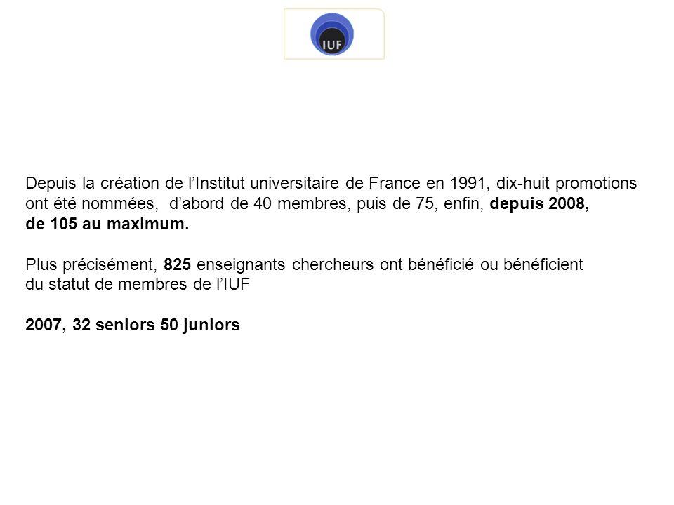 Depuis la création de lInstitut universitaire de France en 1991, dix-huit promotions ont été nommées, dabord de 40 membres, puis de 75, enfin, depuis