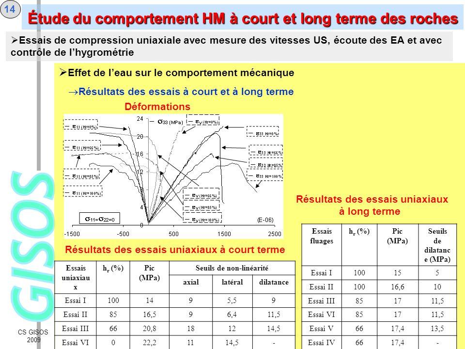 CS GISOS 2009 14 Effet de leau sur le comportement mécanique Résultats des essais à court et à long terme Déformations Essais de compression uniaxiale