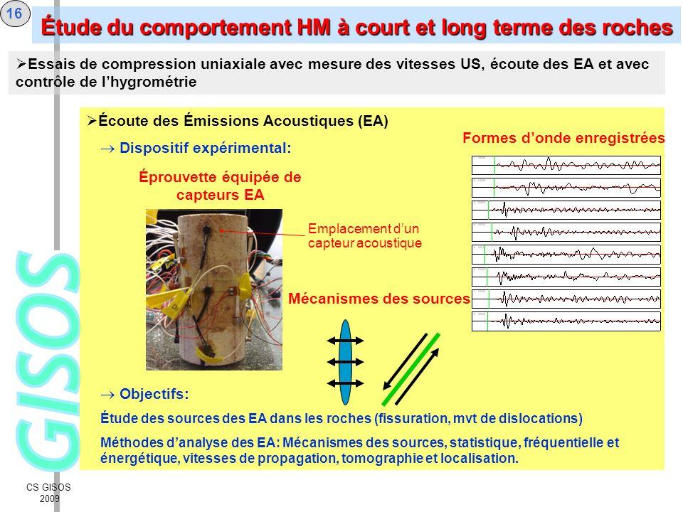 CS GISOS 2009 16 Écoute des Émissions Acoustiques (EA) Dispositif expérimental: Objectifs: Étude des sources des EA dans les roches (fissuration, mvt
