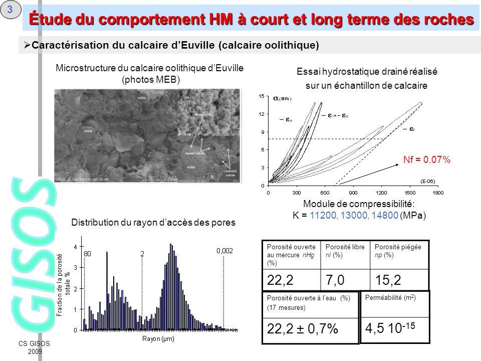 CS GISOS 2009 3 Caractérisation du calcaire dEuville (calcaire oolithique) Distribution du rayon daccès des pores Essai hydrostatique drainé réalisé s