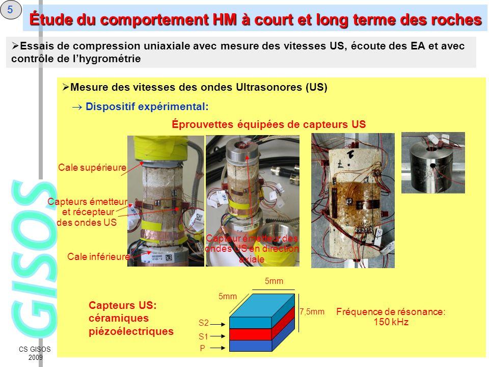 CS GISOS 2009 5 Mesure des vitesses des ondes Ultrasonores (US) Dispositif expérimental: Éprouvettes équipées de capteurs US Cale supérieure Cale infé