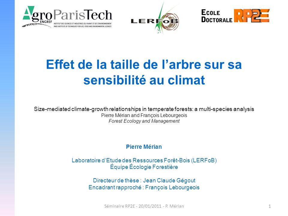 1Séminaire RP2E - 20/01/2011 - P. Mérian Effet de la taille de larbre sur sa sensibilité au climat Pierre Mérian Laboratoire dEtude des Ressources For