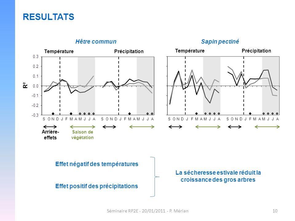 Séminaire RP2E - 20/01/2011 - P. Mérian10 RESULTATS Hêtre commun R² TempératurePrécipitation TempératurePrécipitation Sapin pectiné SONDJFMAMJJA Arriè