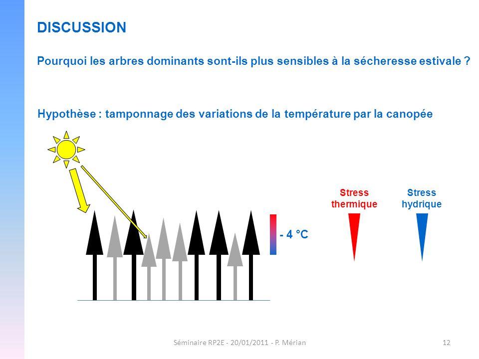 Séminaire RP2E - 20/01/2011 - P. Mérian12 DISCUSSION Pourquoi les arbres dominants sont-ils plus sensibles à la sécheresse estivale ? Hypothèse : tamp