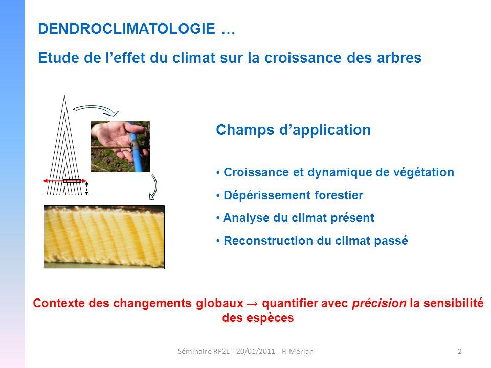 Séminaire RP2E - 20/01/2011 - P. Mérian2 DENDROCLIMATOLOGIE … Etude de leffet du climat sur la croissance des arbres Champs dapplication Croissance et