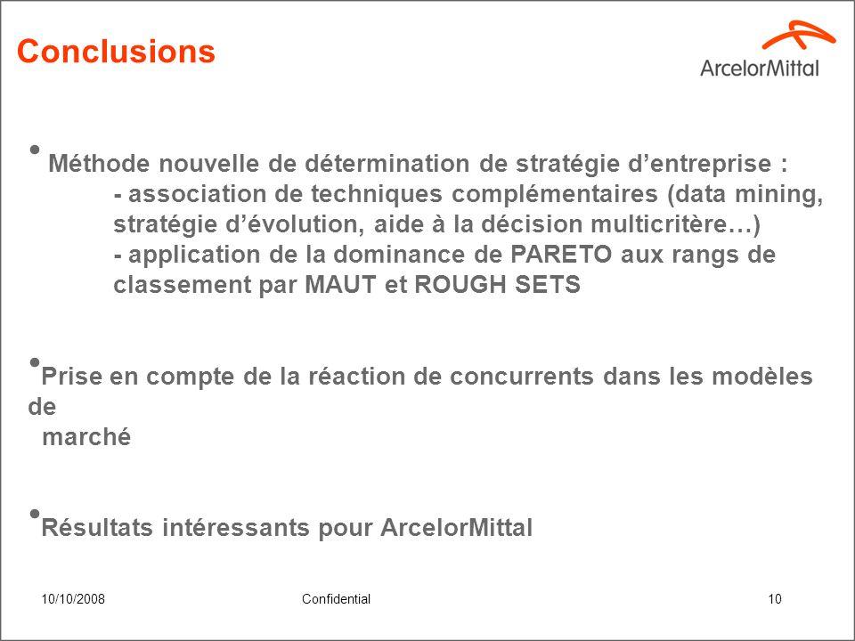 10/10/2008Confidential9 Méthodologie générale – tri PARETO Suite à lutilisation de 2 modèles de preferences (MAUT et Rough Sets) nous avons obtenu 2 classements de stratégies.