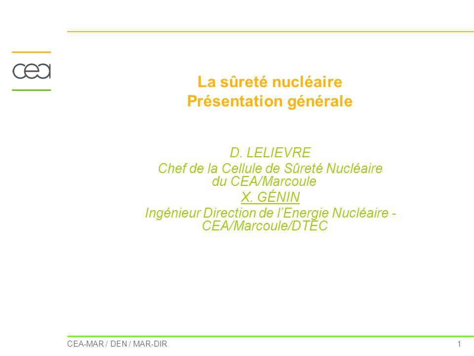 CEA-MAR / DEN / MAR-DIR 1 La sûreté nucléaire Présentation générale D. LELIEVRE Chef de la Cellule de Sûreté Nucléaire du CEA/Marcoule X. GÉNIN Ingéni