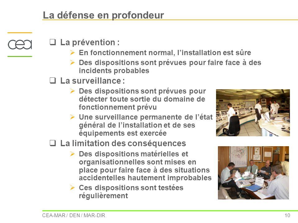 CEA-MAR / DEN / MAR-DIR 10 La défense en profondeur La prévention : En fonctionnement normal, linstallation est sûre Des dispositions sont prévues pou