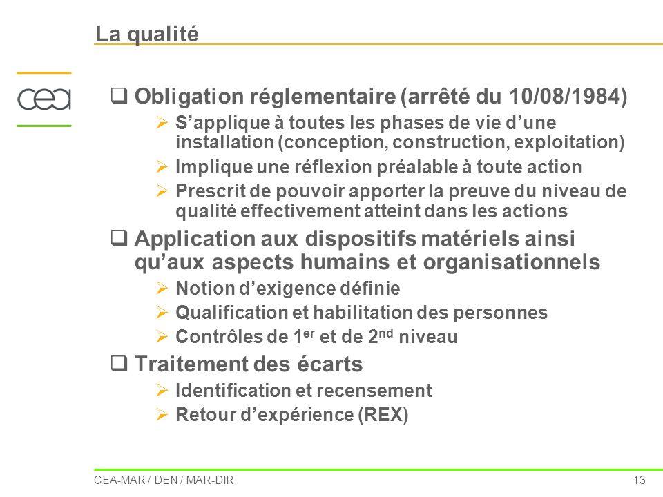 CEA-MAR / DEN / MAR-DIR 13 La qualité Obligation réglementaire (arrêté du 10/08/1984) Sapplique à toutes les phases de vie dune installation (concepti