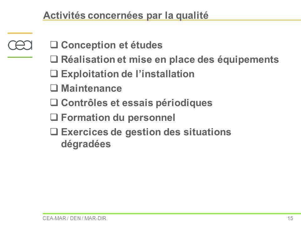 CEA-MAR / DEN / MAR-DIR 15 Activités concernées par la qualité Conception et études Réalisation et mise en place des équipements Exploitation de linst