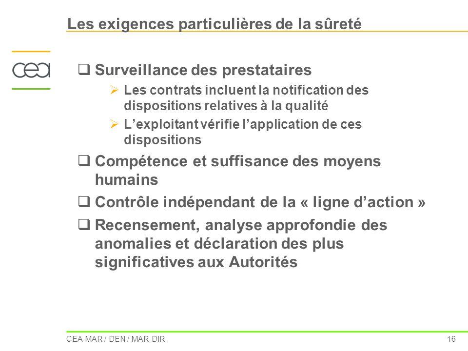 CEA-MAR / DEN / MAR-DIR 16 Les exigences particulières de la sûreté Surveillance des prestataires Les contrats incluent la notification des dispositio
