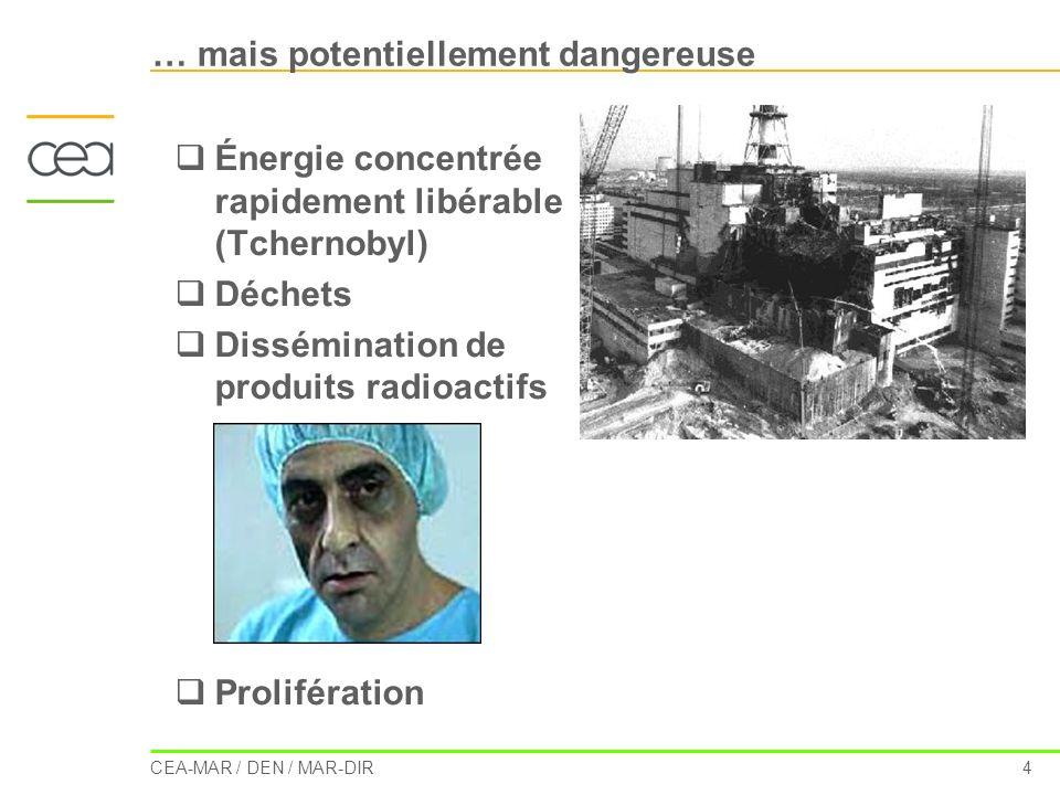 CEA-MAR / DEN / MAR-DIR 4 … mais potentiellement dangereuse Énergie concentrée rapidement libérable (Tchernobyl) Déchets Dissémination de produits rad