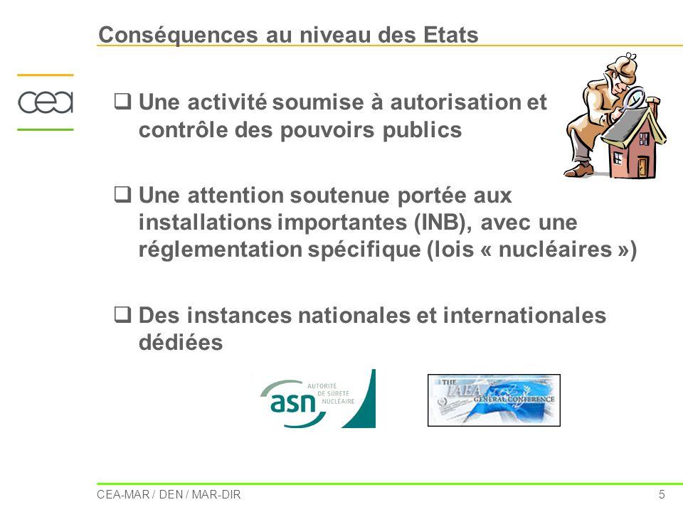 CEA-MAR / DEN / MAR-DIR 5 Conséquences au niveau des Etats Une activité soumise à autorisation et contrôle des pouvoirs publics Une attention soutenue
