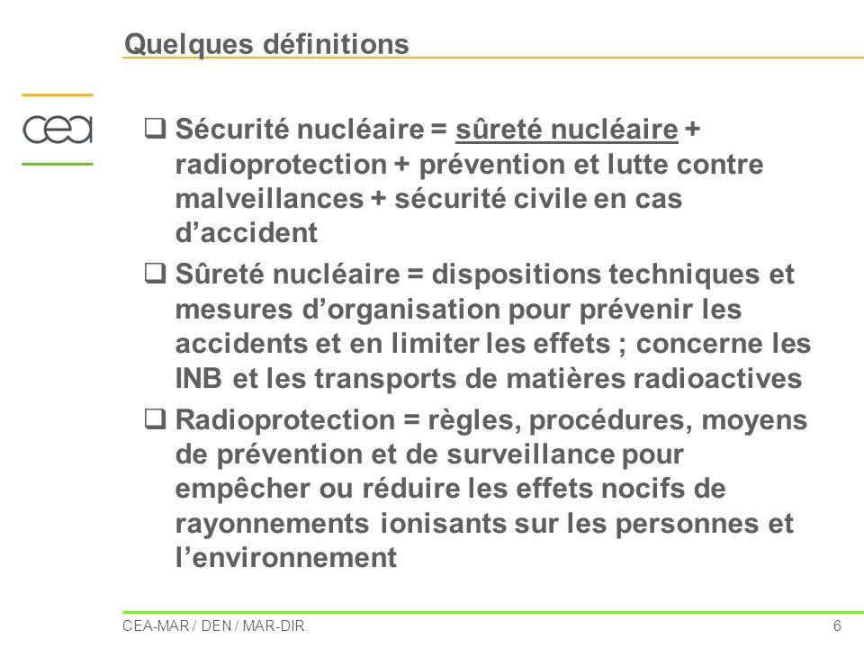 CEA-MAR / DEN / MAR-DIR 7 La situation en France : la réglementation La radioprotection Code de la Santé Publique – Livre 3 (protection de la santé et environnement) – Titre 3 (protection des risques sanitaires liés à lenvironnement et au travail) – Chapitre III Code du Travail – Livre 2 (réglementation du travail) – Titre 3 (hygiène et sécurité) – Section 8 Code de lEnvironnement – Livre 5 (prévention des pollutions, des risques et des nuisances) – Titre 4 (déchets) – Chapitre II La sûreté nucléaire Loi « TSN » du 13/06/2006 Fixe les grands principes auxquels sont soumises les activités nucléaires Associe la transparence à la sûreté Institue une Autorité de sûreté nucléaire indépendante